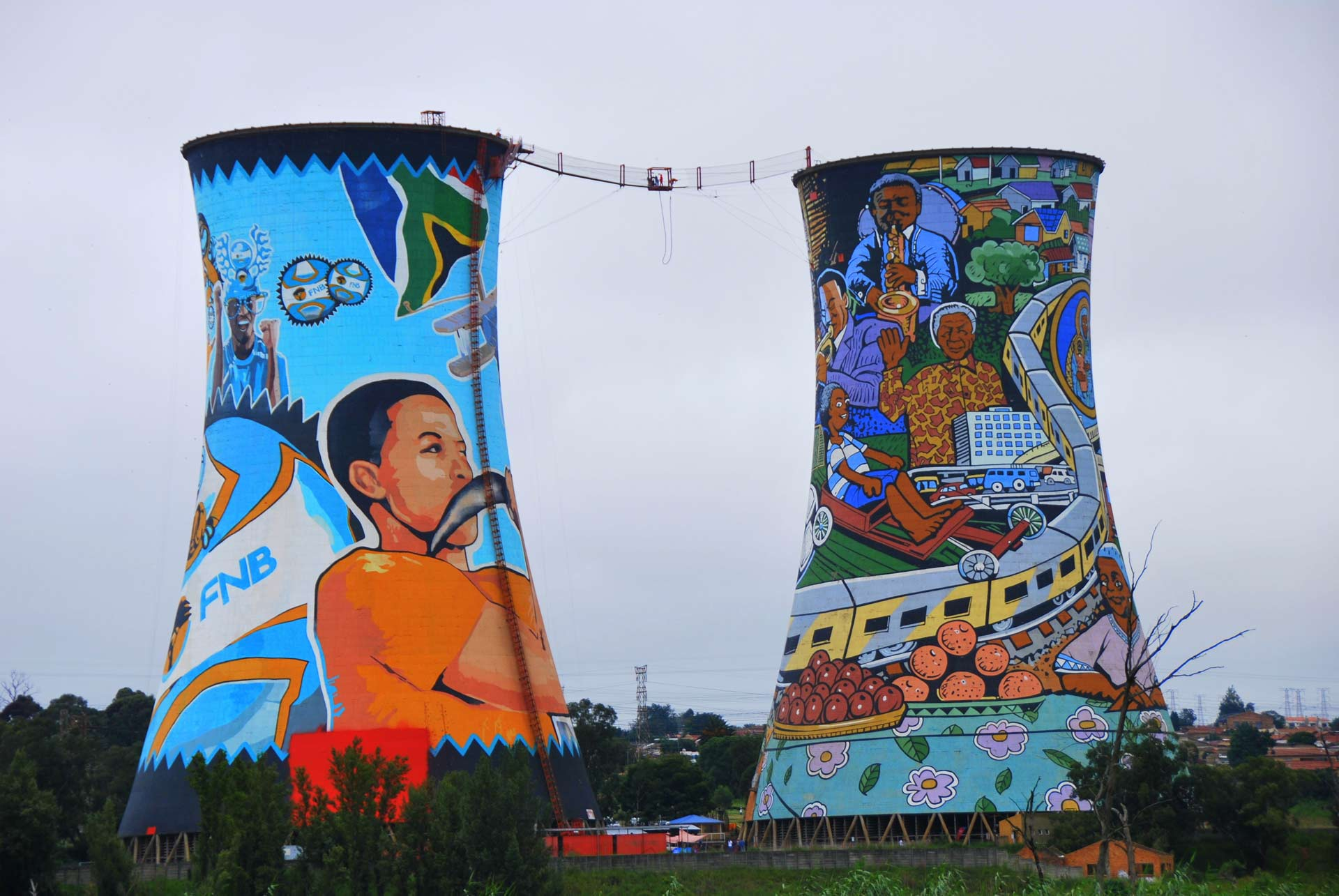 Orlando towers are a famous landmark of Soweto, the township of Johannesburg