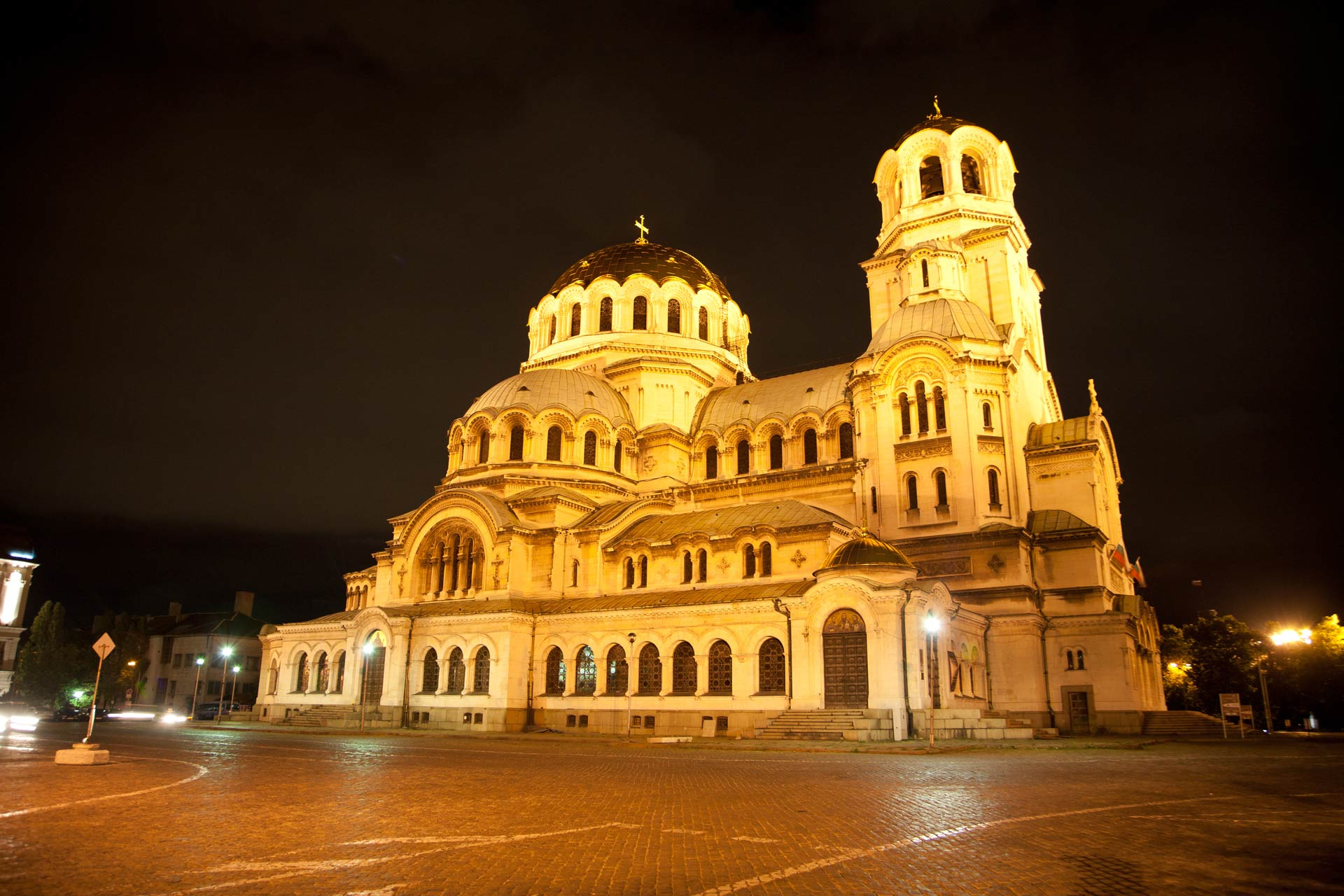 Alexander Nevsky Cathedral at night, Sofia, Bulgaria