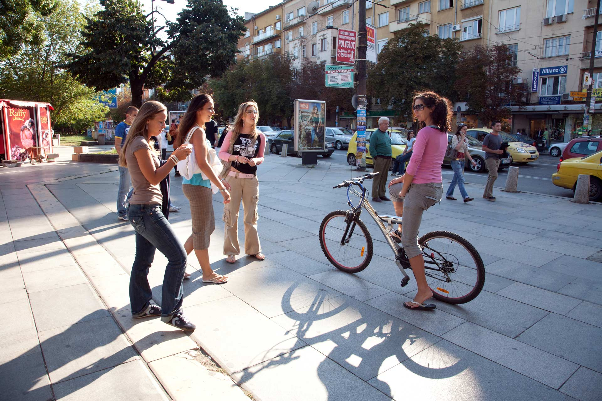 Young women on the streets of Bulgaria
