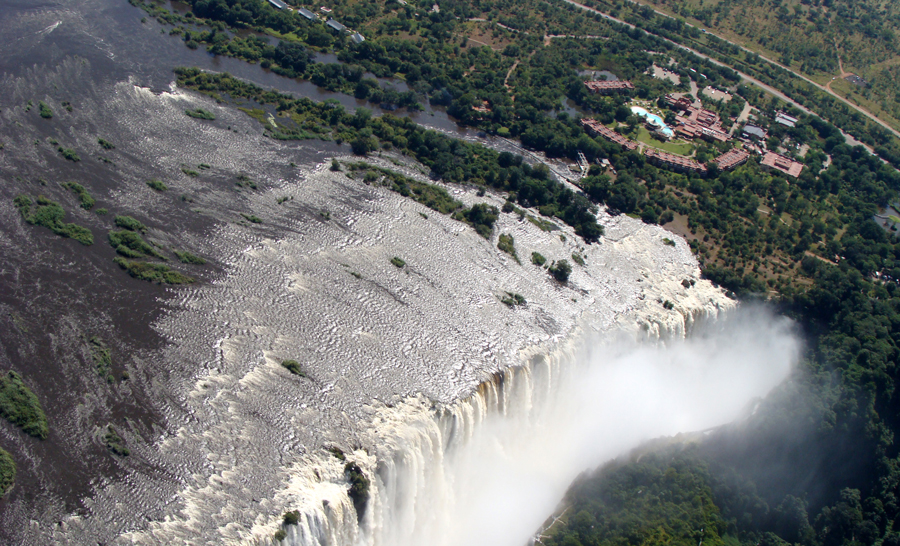 Victoria Falls on Zambezi River, border of Zambia and Zimbabwe
