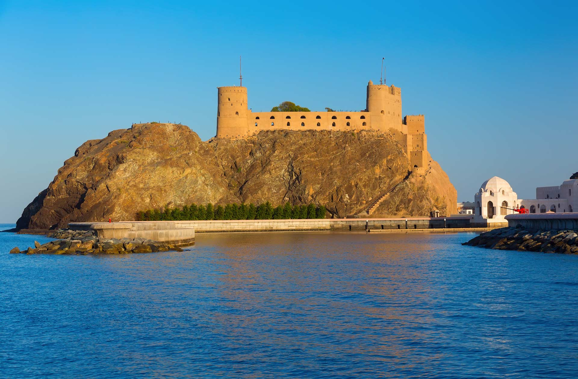 Oman.Impressive twin forts at the entrance of Old Muscat's harbor near Sultan Qaboos palace