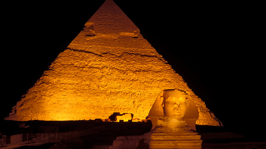 Sphinx and Pyramids of Giza at night, Al Jizah, Egypt