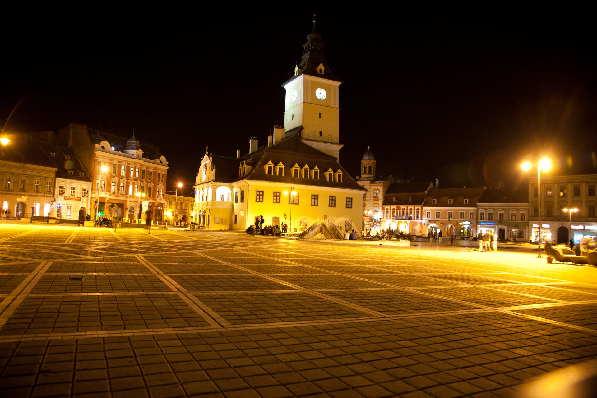 City Hall Square at night, Brasov, Romania