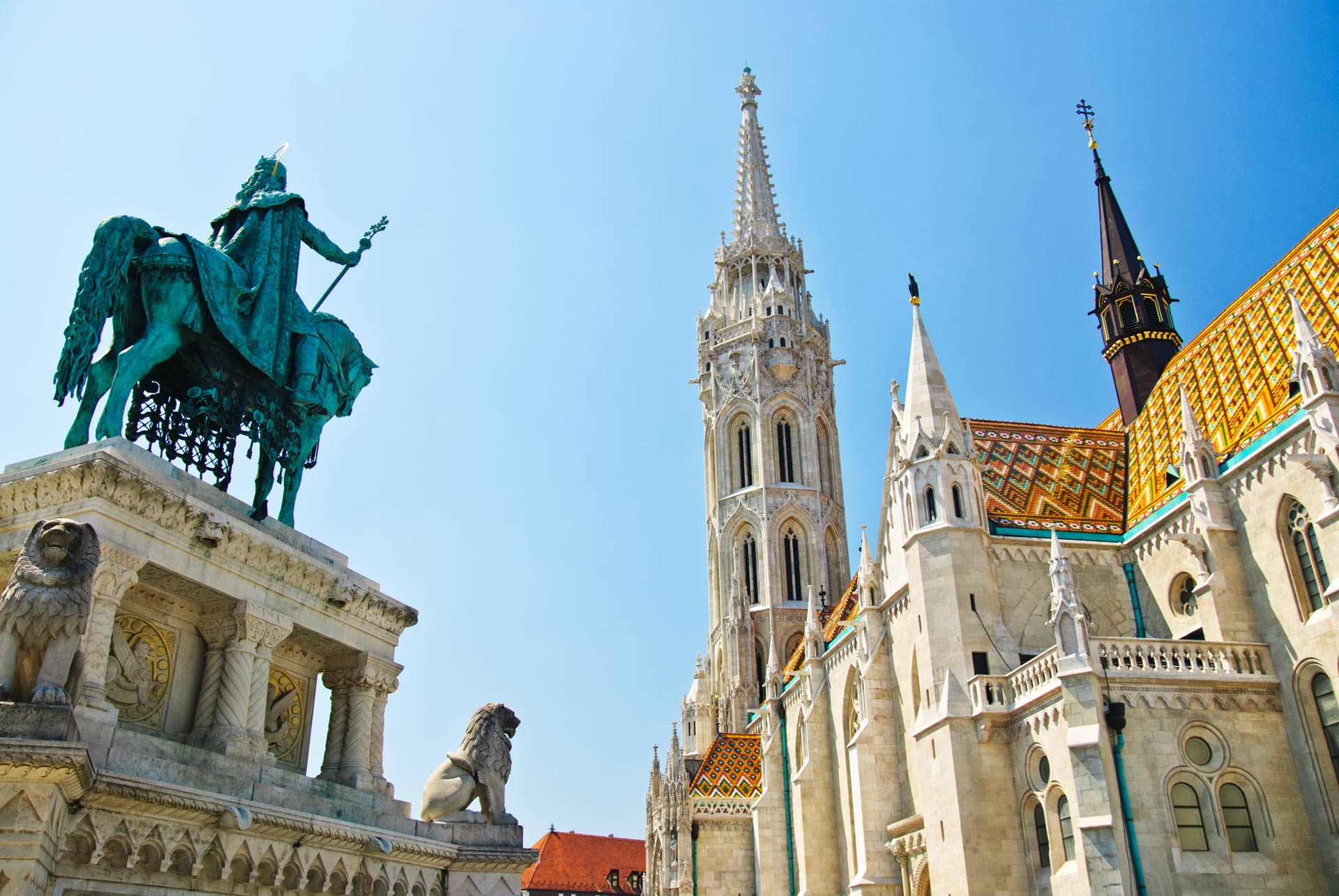 Matthias church and king St. Stephen I monument in Budapest, Hungary
