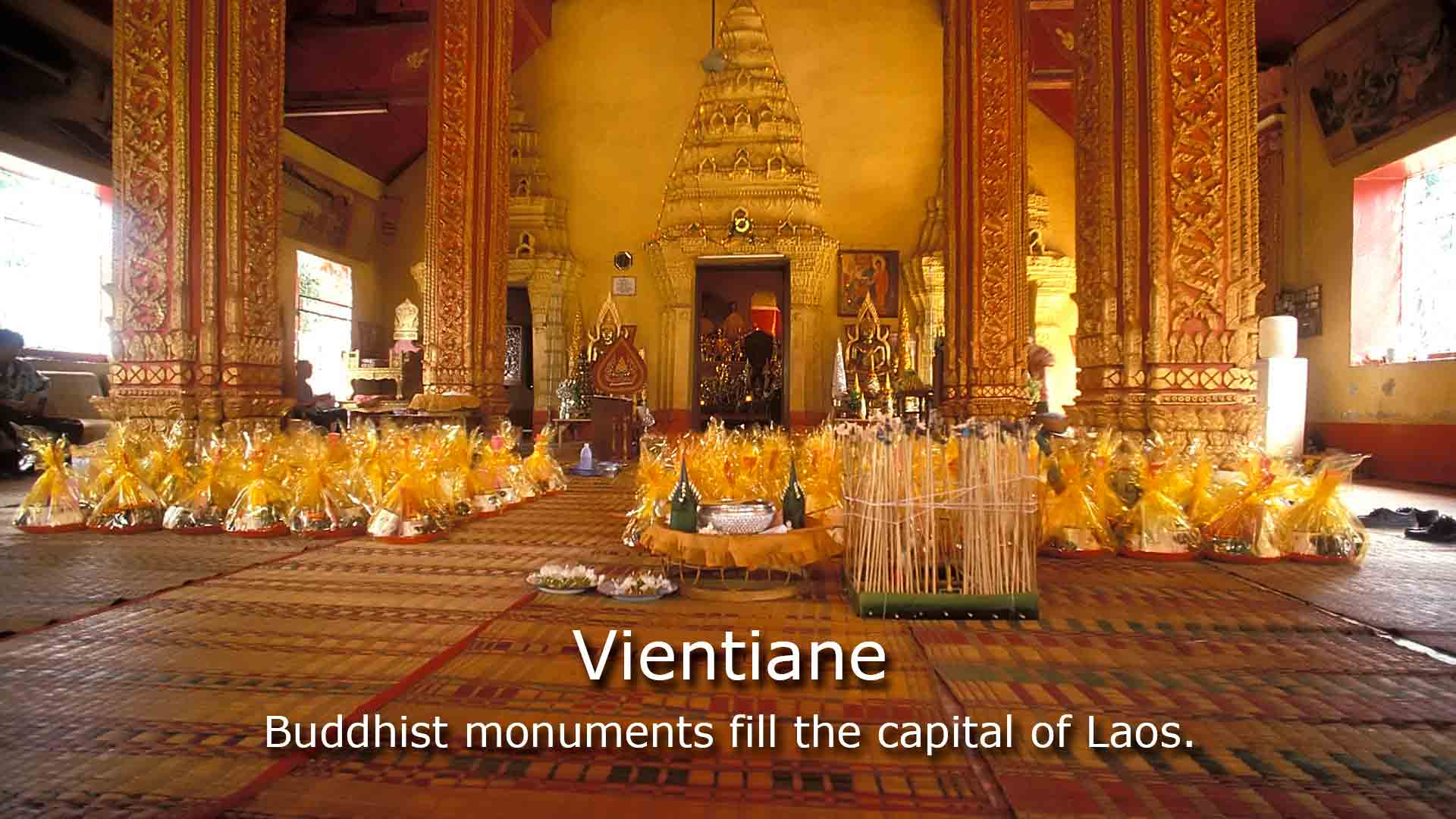 Buddhist monuments fill the capital of Laos