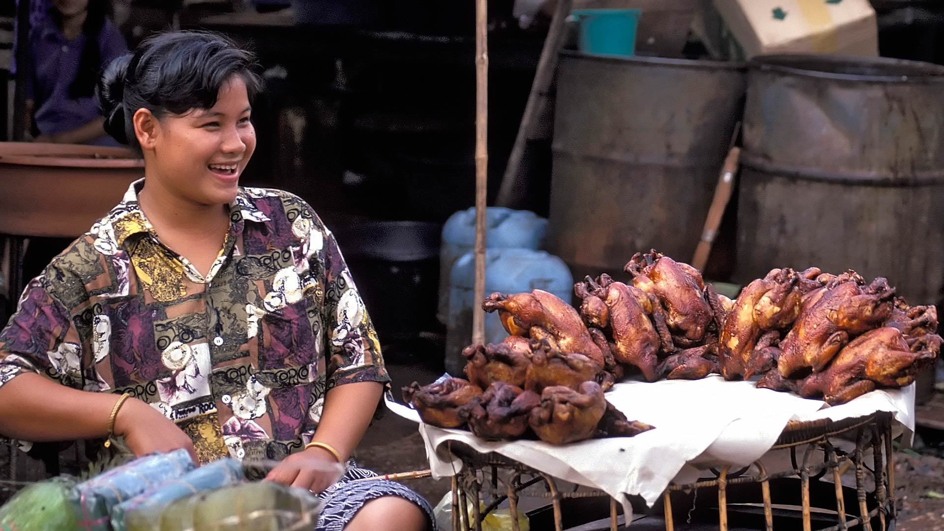 Roasted chicken vendor at the Thong Khan Kam Market, Vientiane, Laos
