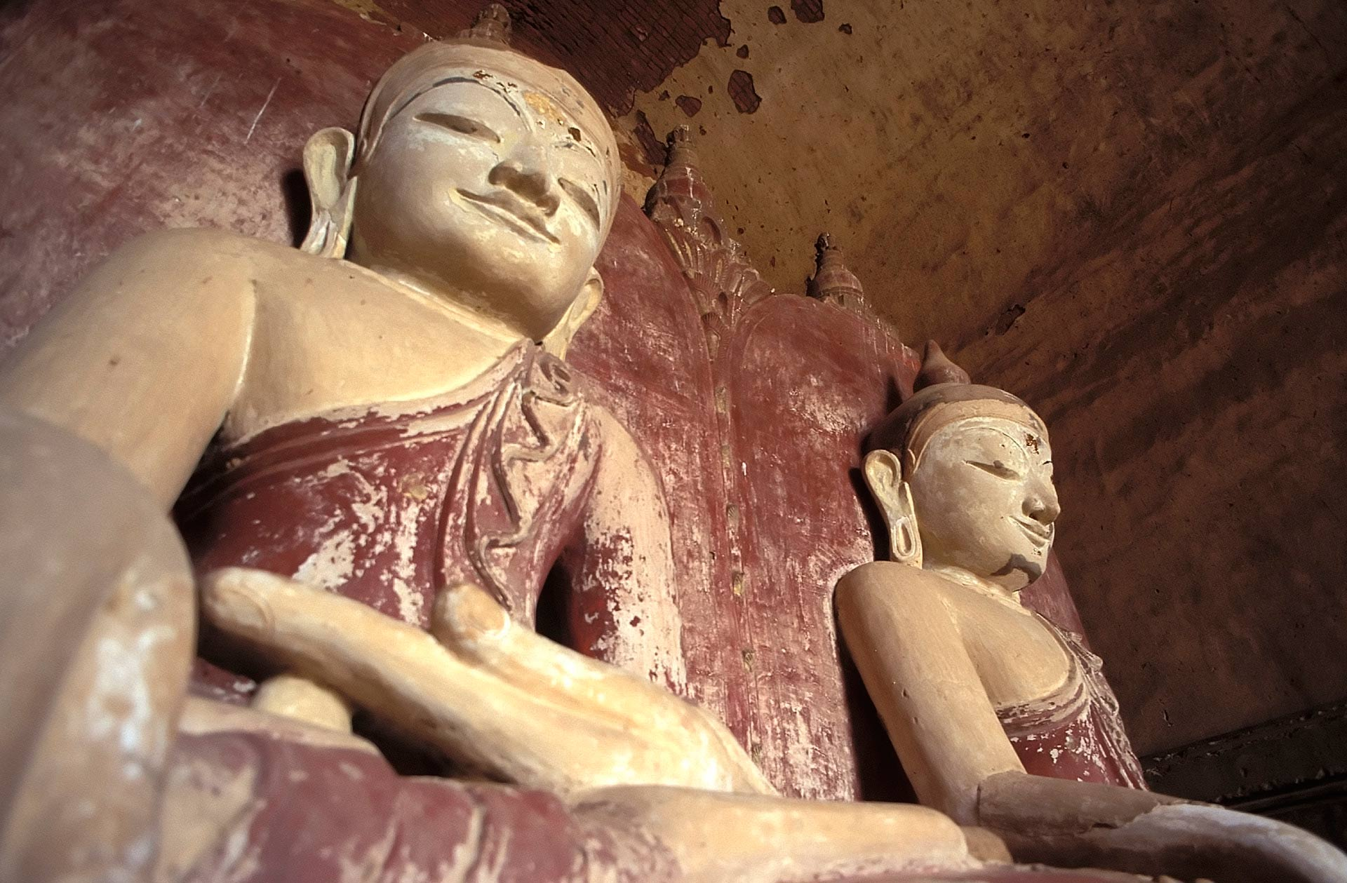 Side-by-side Gautama and Maitreya Buddhas at the Dhammayangyi Temple, Bagan (Pagan), Myanmar