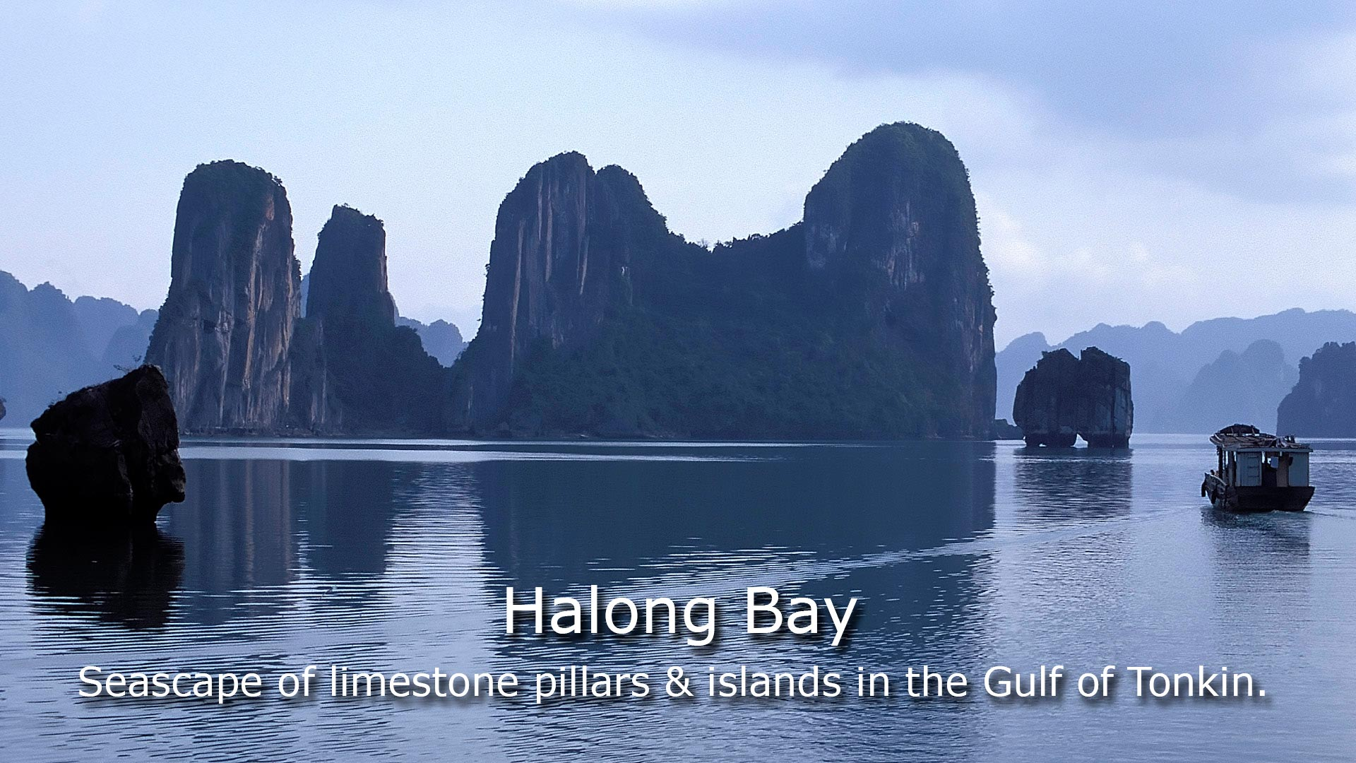 Halong Bay - Seascape of limestone pillars & islands in the gulf of Tonkin