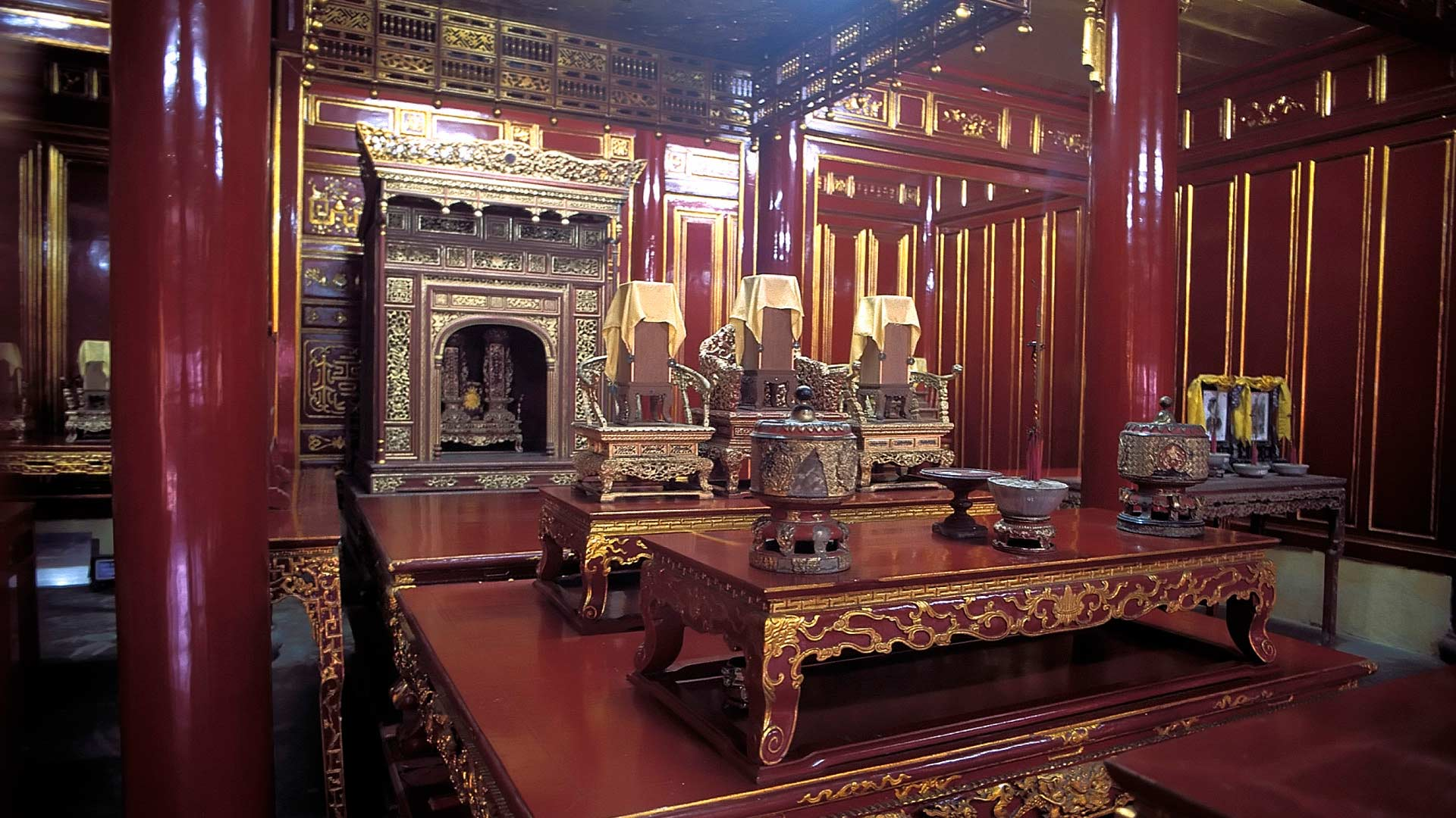 Interior of The Temple in the Imperial City, Hue, Thua Thien-Hue, Vietnam