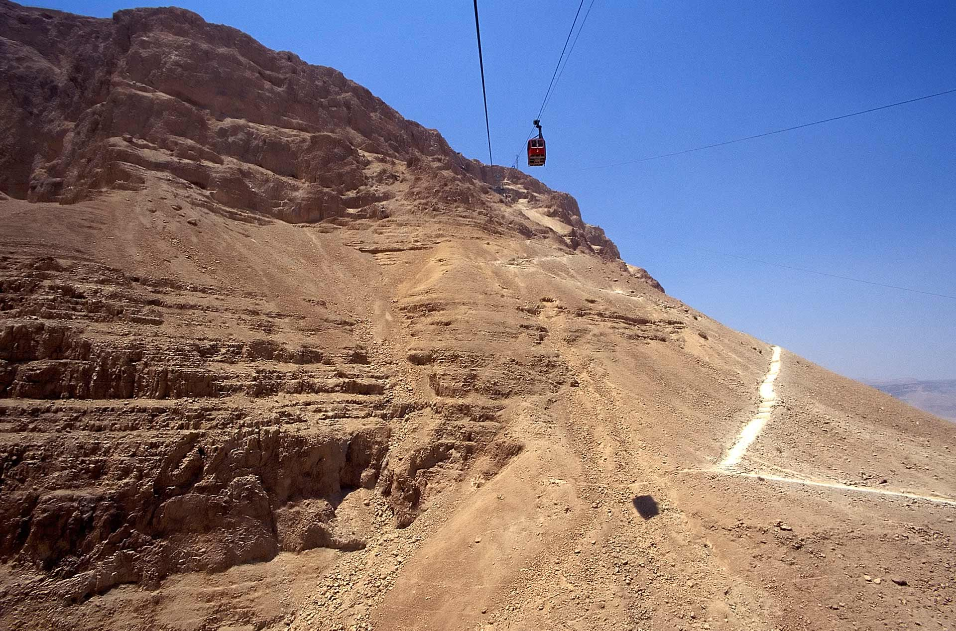 Snake Path with cable car lines, Masada, Israel