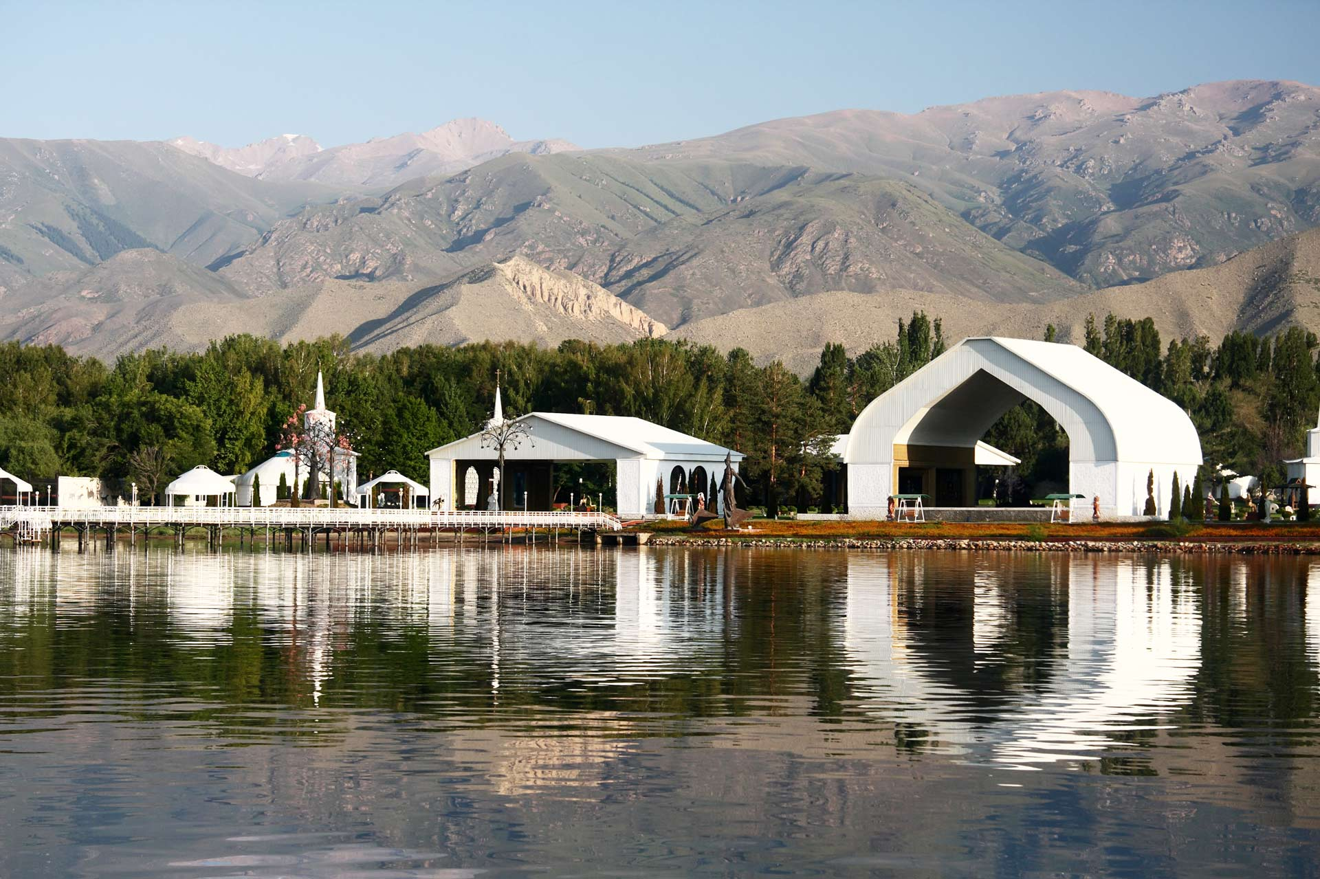 Architectural complex on the bank of mountain Lake Issyk-kul, Kyrgyzstan
