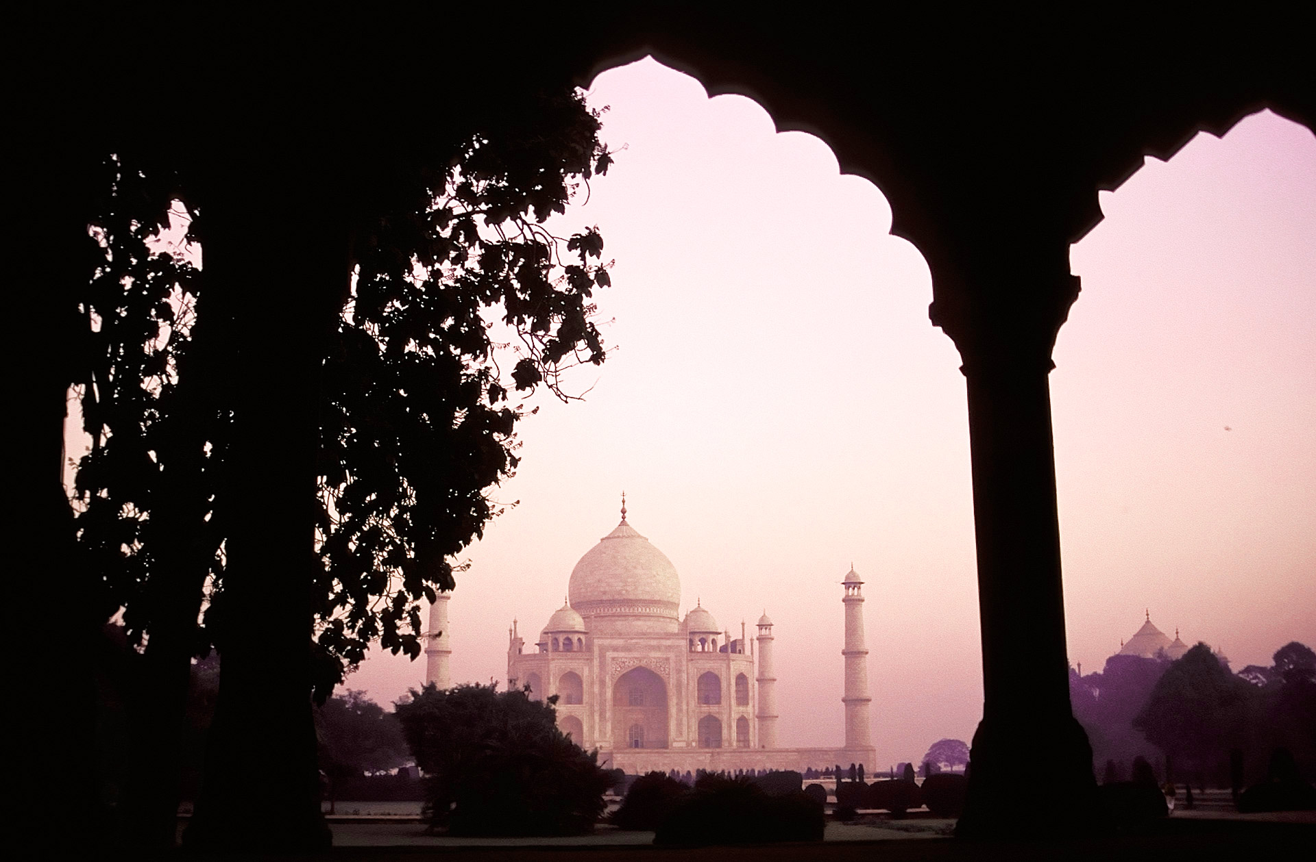 Taj Mahal, as seen from the archways at the Entrance Gate, Agra, Uttar Pradesh, India