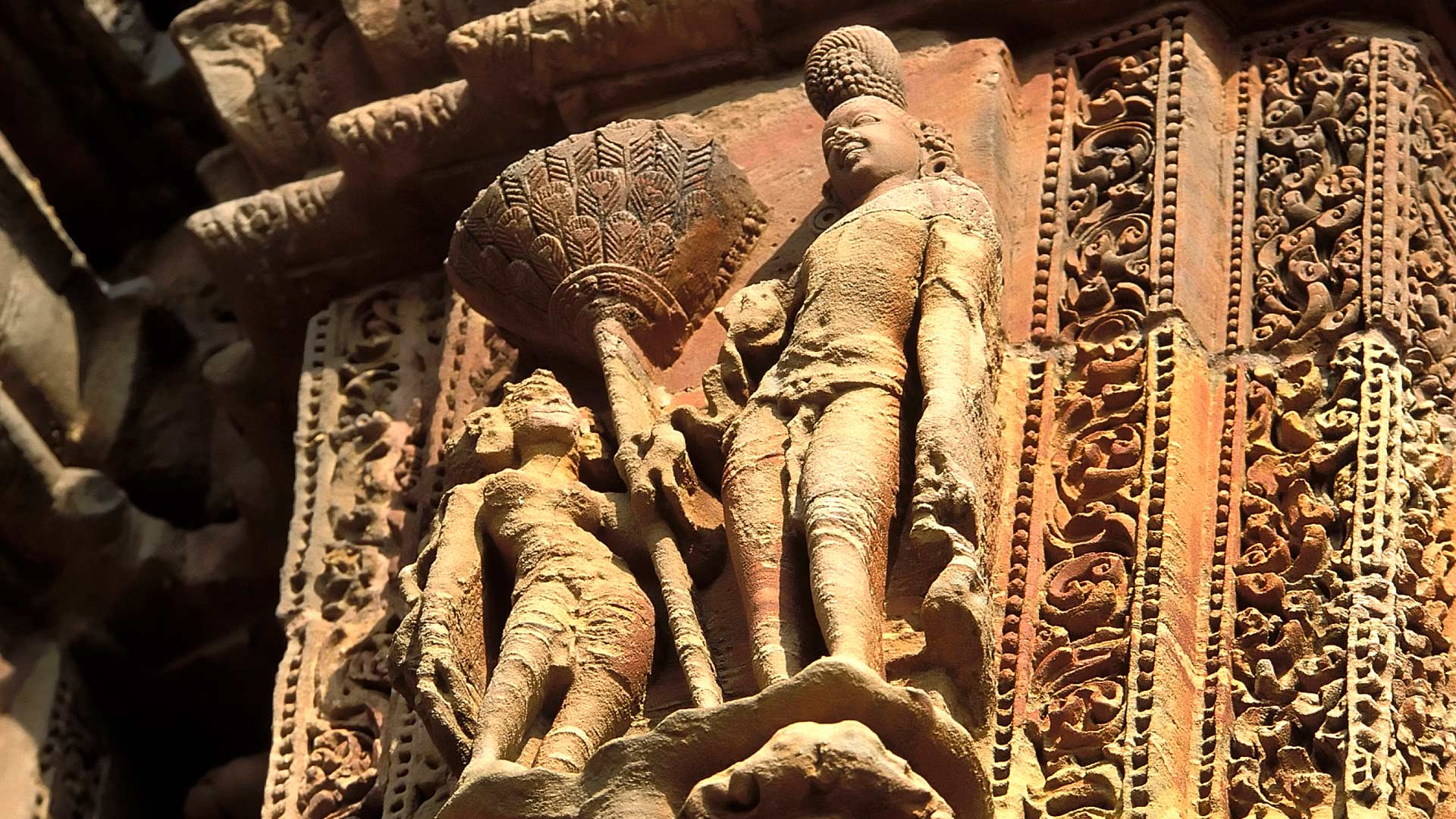 Carving of Shiva and Parvati on the Parsurameswar Temple, Bhubaneswar, Orissa, India