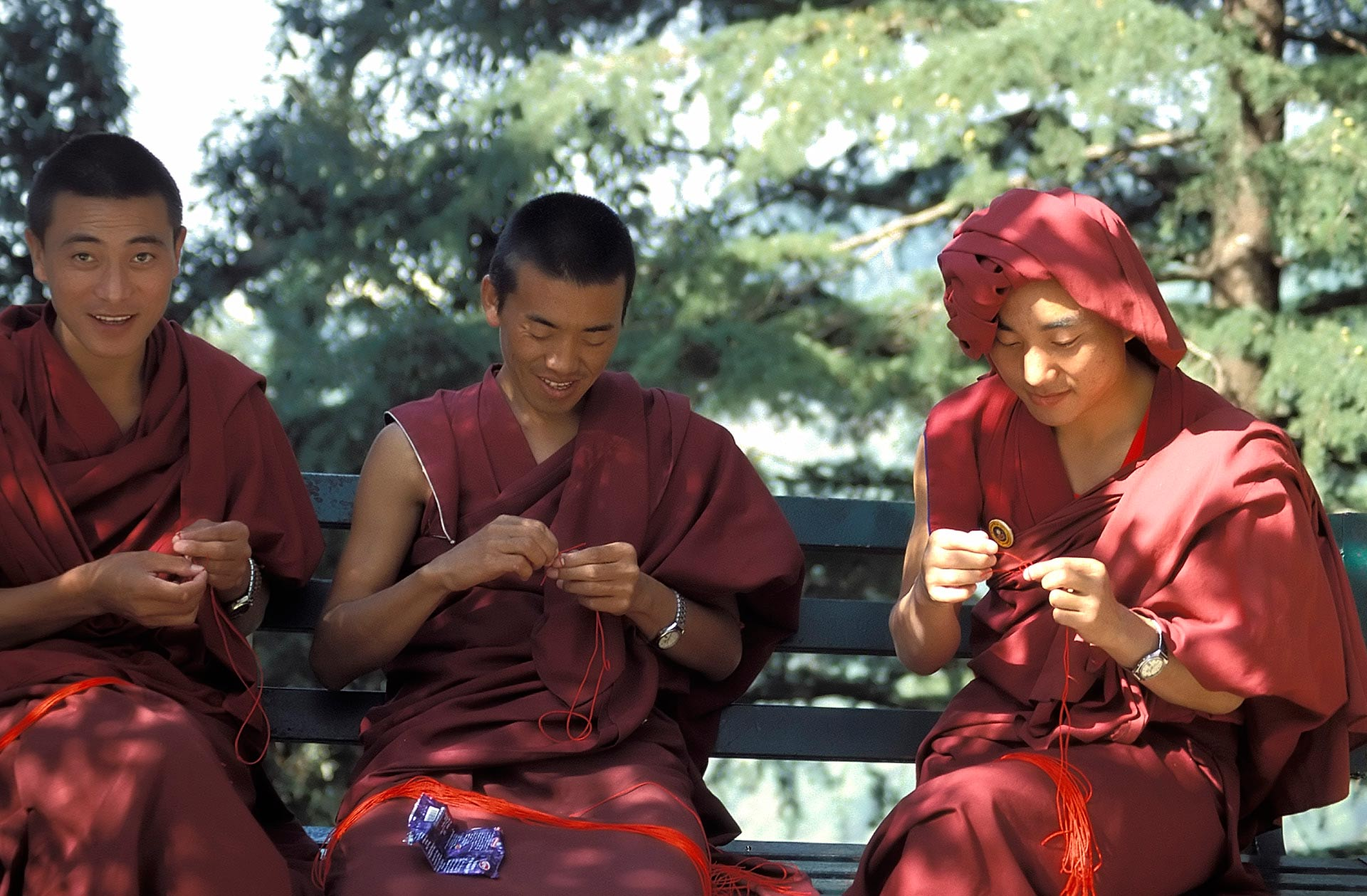 Buddhist Monks knitting, Dharamsala, Himachal Pradesh, India