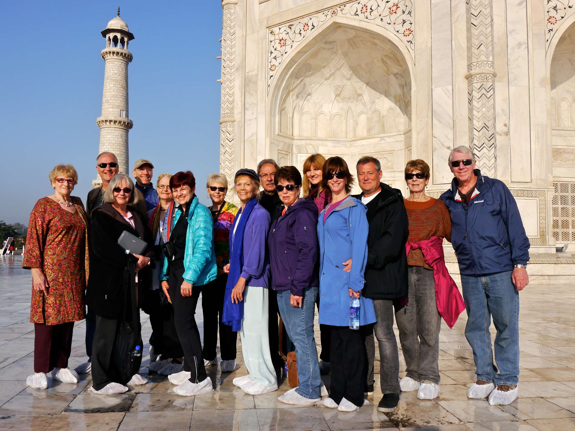 Tourist visit to famous historical monument Taj Mahal, UNESCO World Heritage Site.