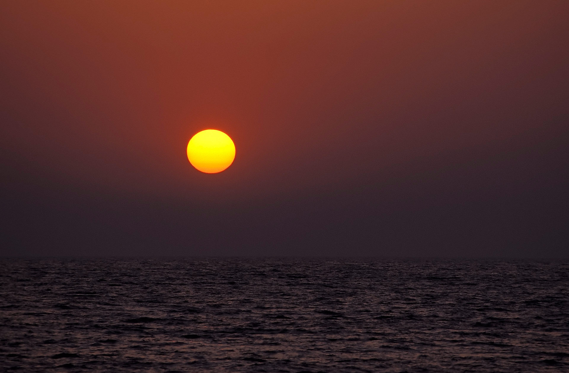 Sunset in the Arabian sea, Nattika Beach, Kerala, India