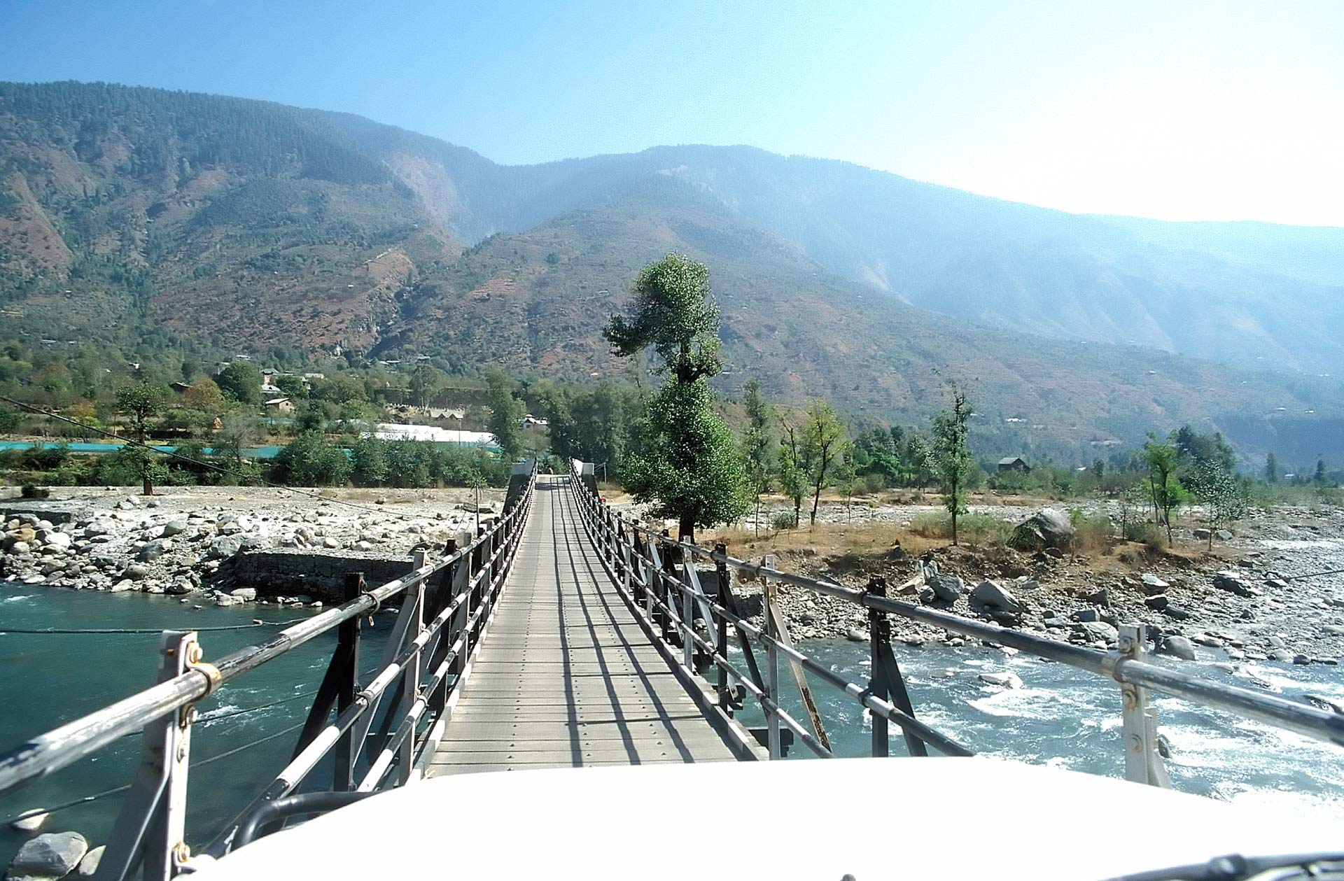 Suspension bridge over the Beas River, Kullu, Himachal Pradesh, India