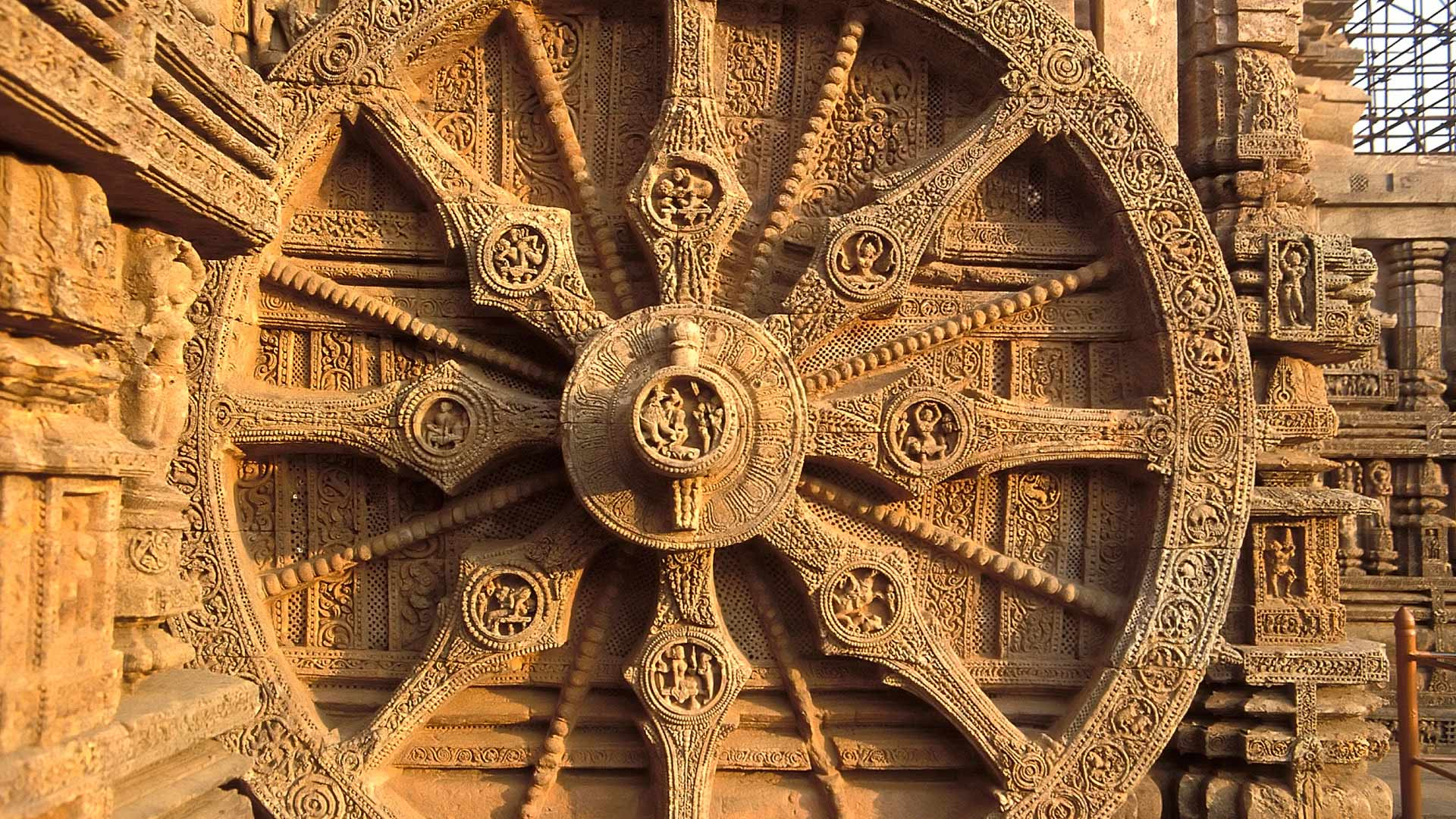 Detail of a Stone Chariot Wheel at the Sun Temple, Konark, Orissa, India