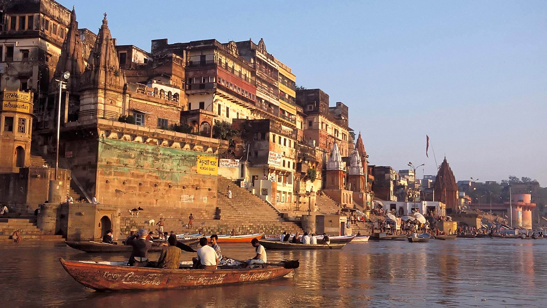 Skyline of Varanasi along the shores of the Ganges River in the early morning, Uttar Pradesh, India