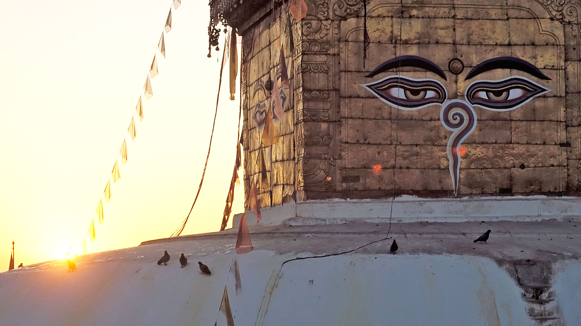 The two eyes of Swoyambhunath temple in Kathmandu