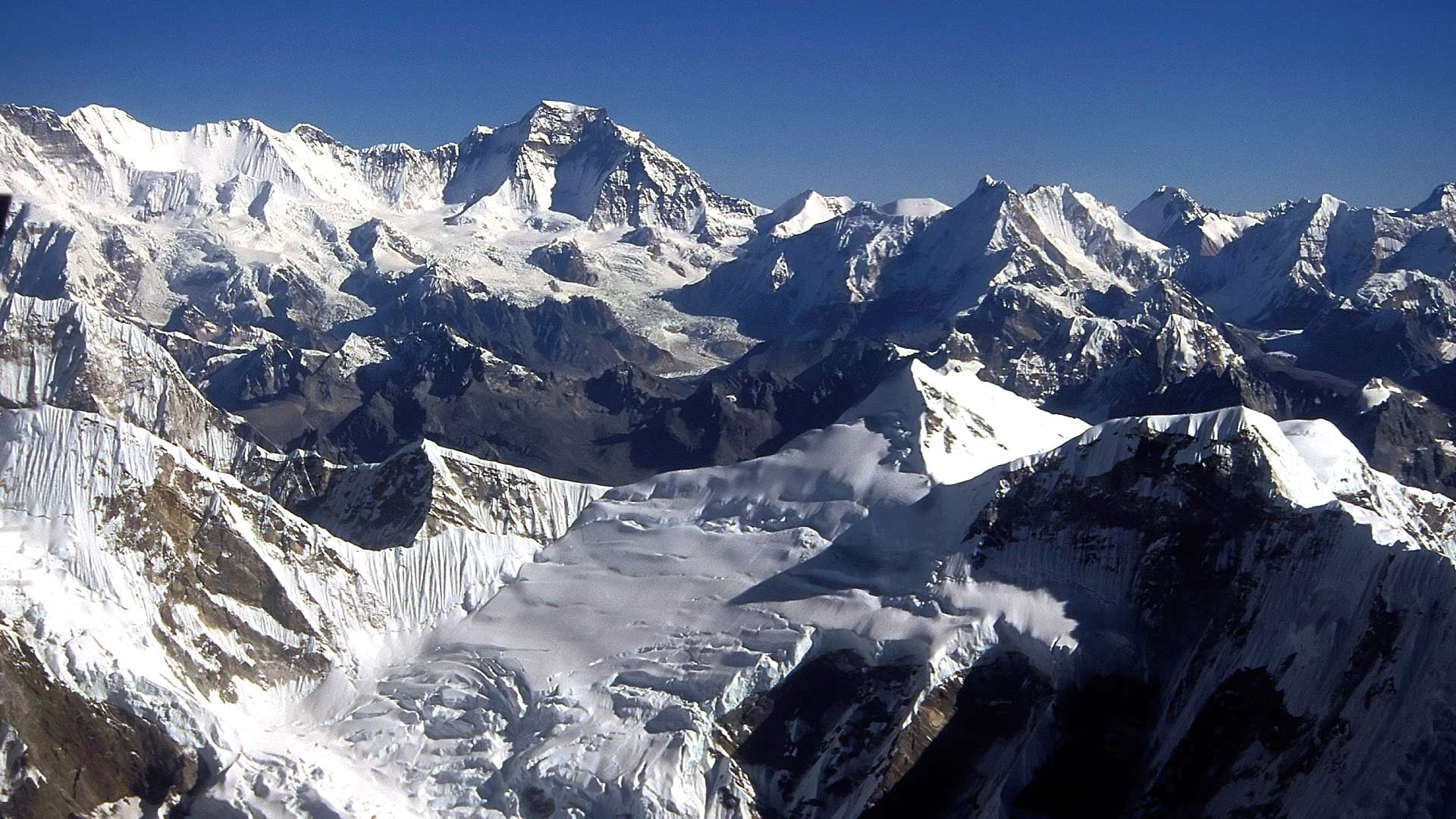 Aerial view of the Himalayas, Everest National Park, Purwanchal (Eastern Region), Nepal