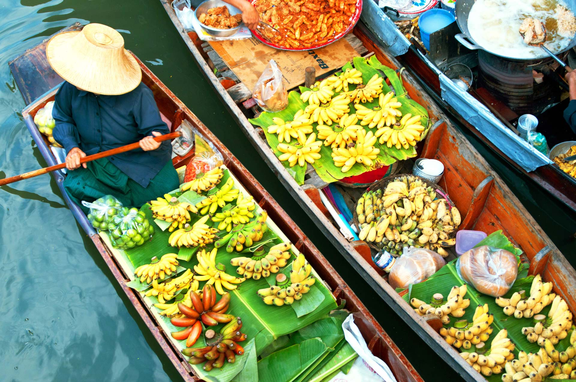 Traditional floating market, Thailand.