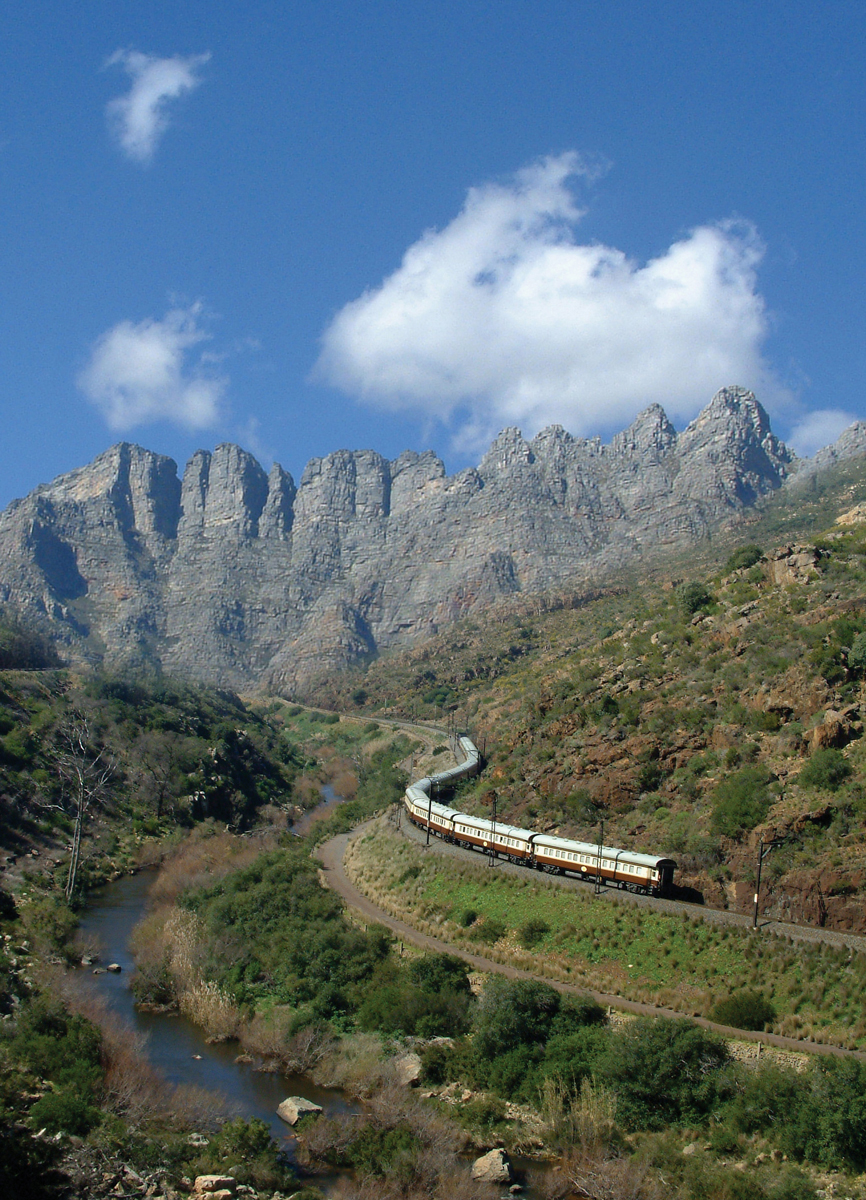 Your private train with beautiful mountains the background