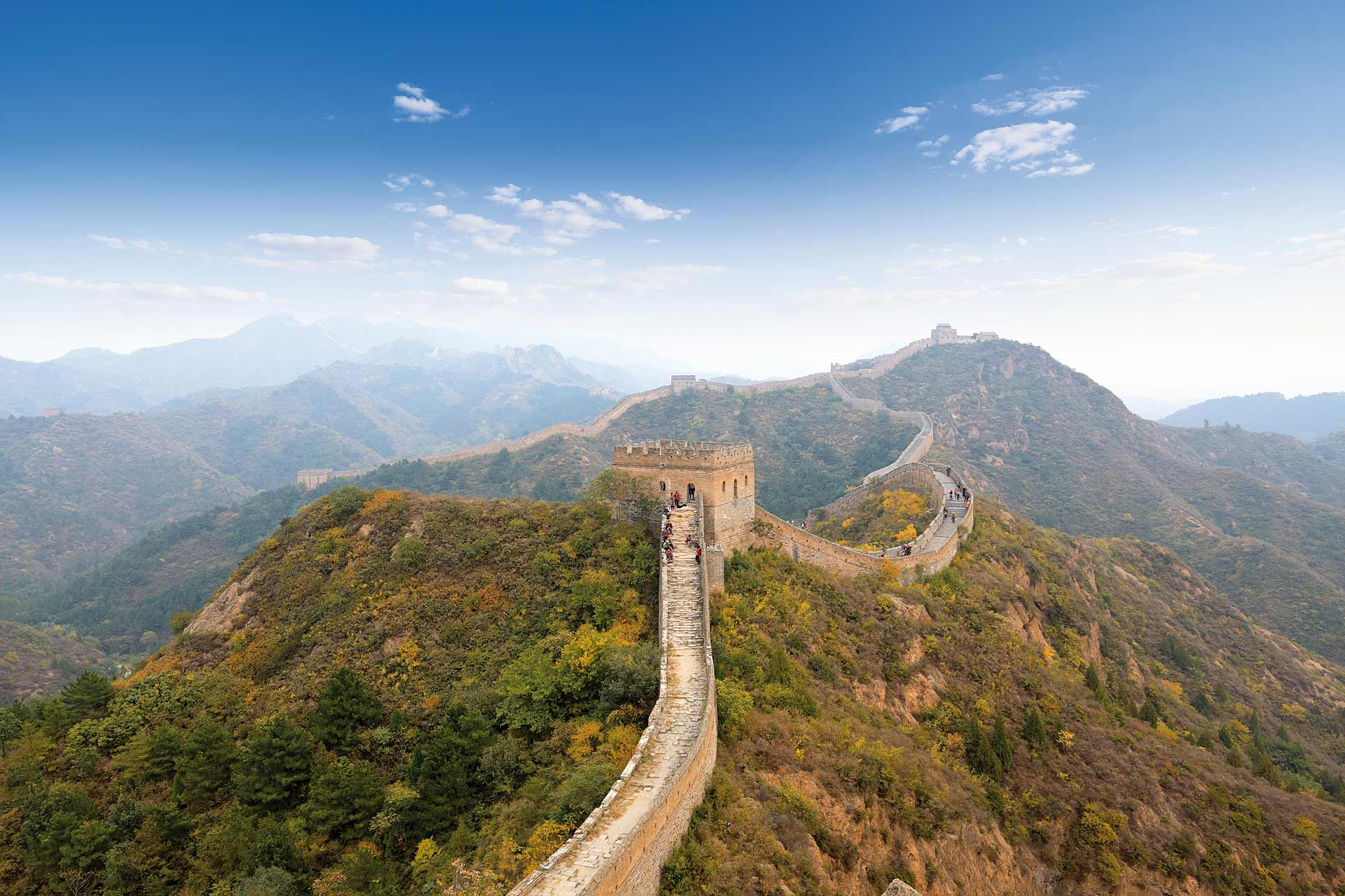 People climb the Great Wall of China