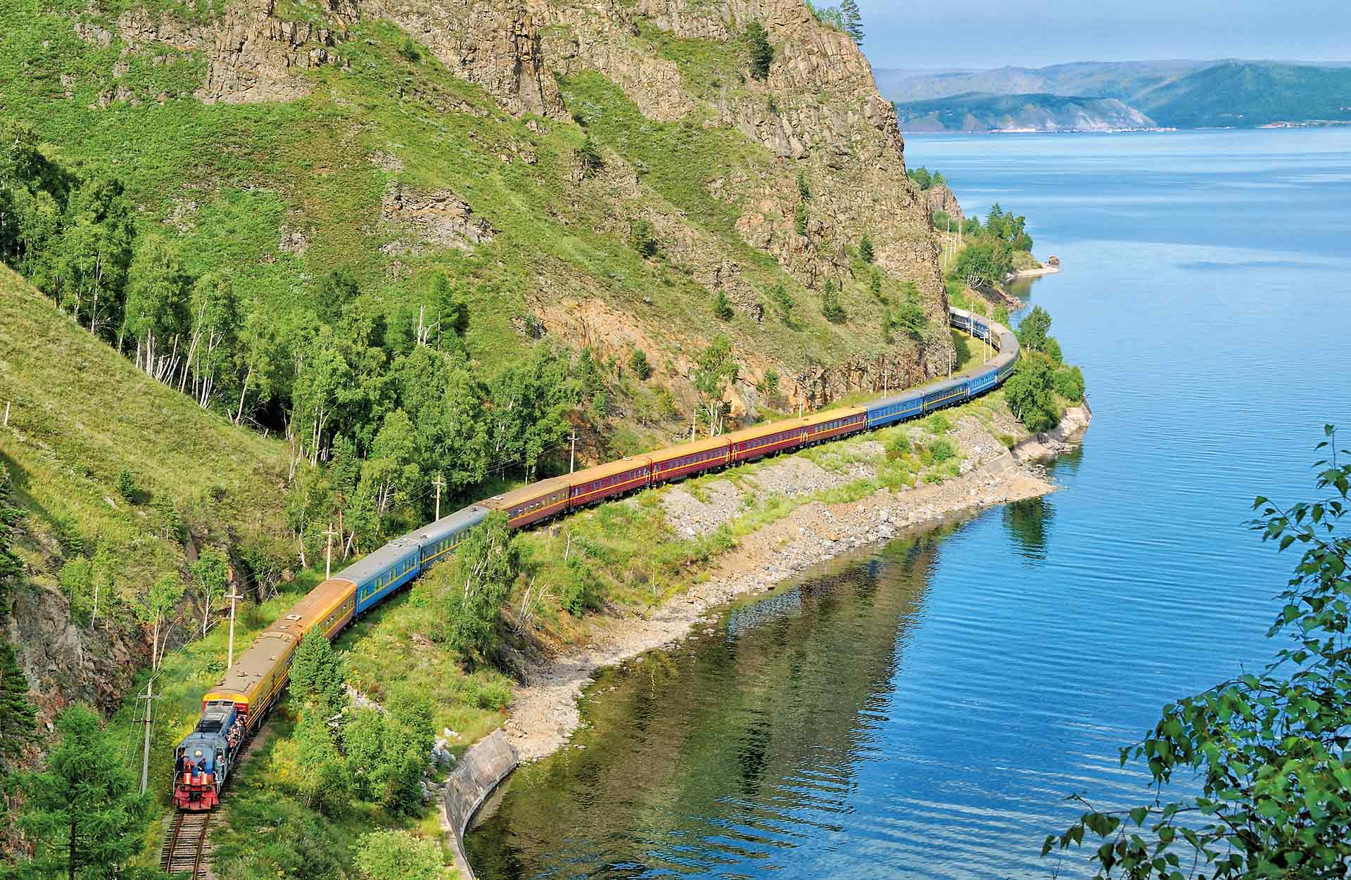 Trans-Siberian Railway, the coast of Lake Baikal.