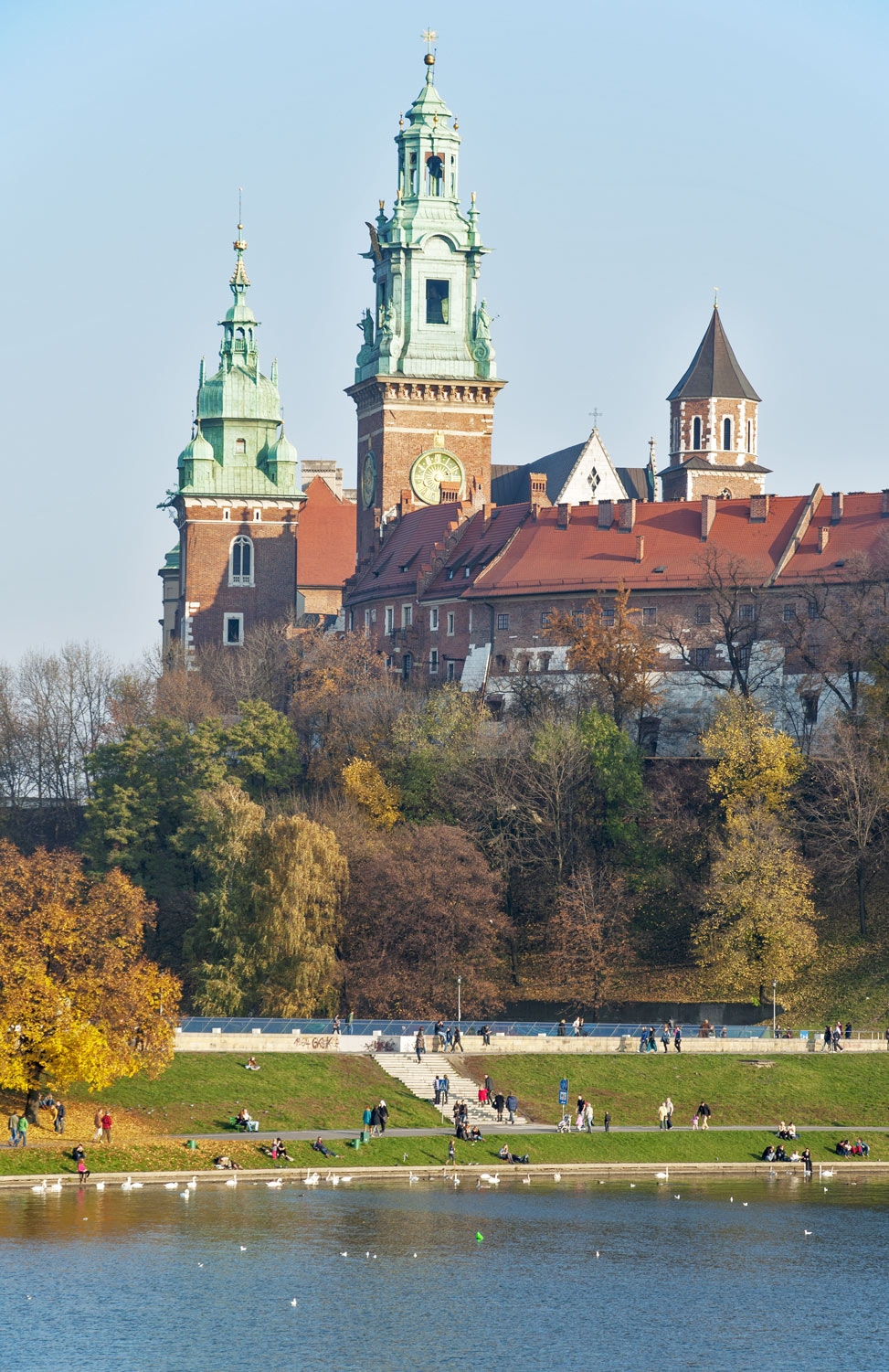 Wawel Castle, Cathedral towers and Vistula River in Krakow, Poland