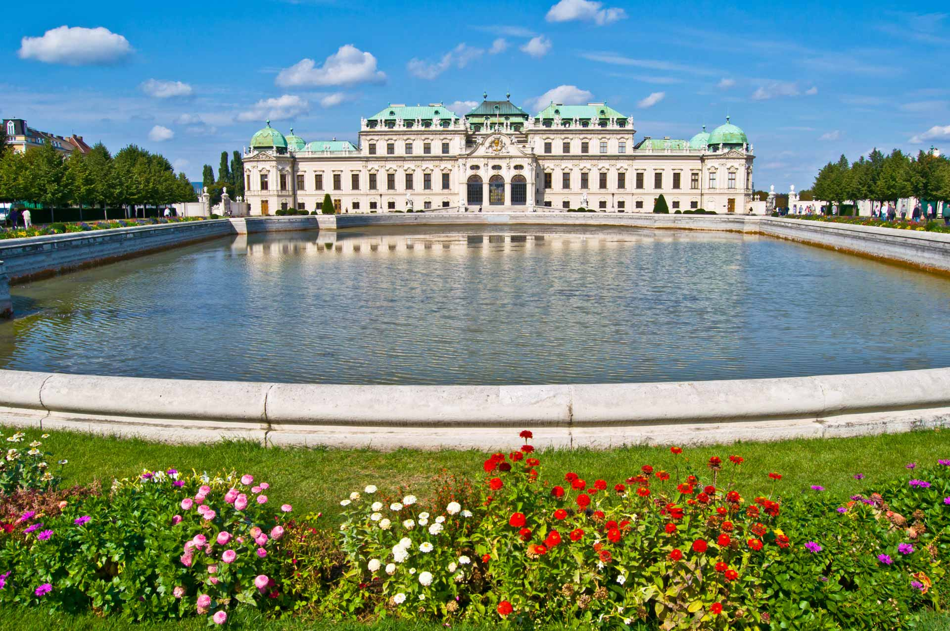 old palace and garden Belvedere in Vienna