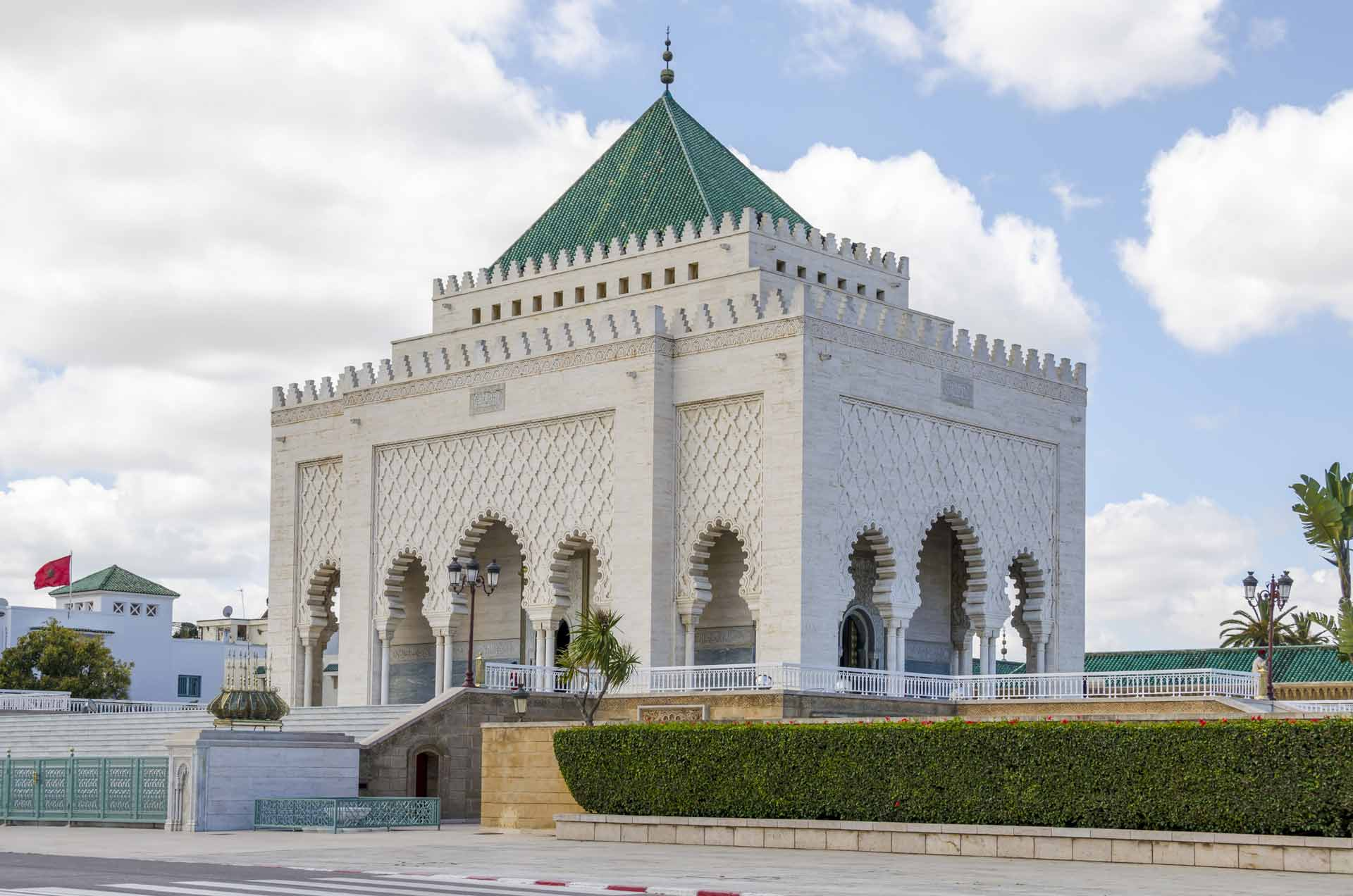 The Mausoleum of Mohammed V, a historical building located on the opposite side of the Hassan Tower on the Yacoub al-Mansour esplanade in Rabat