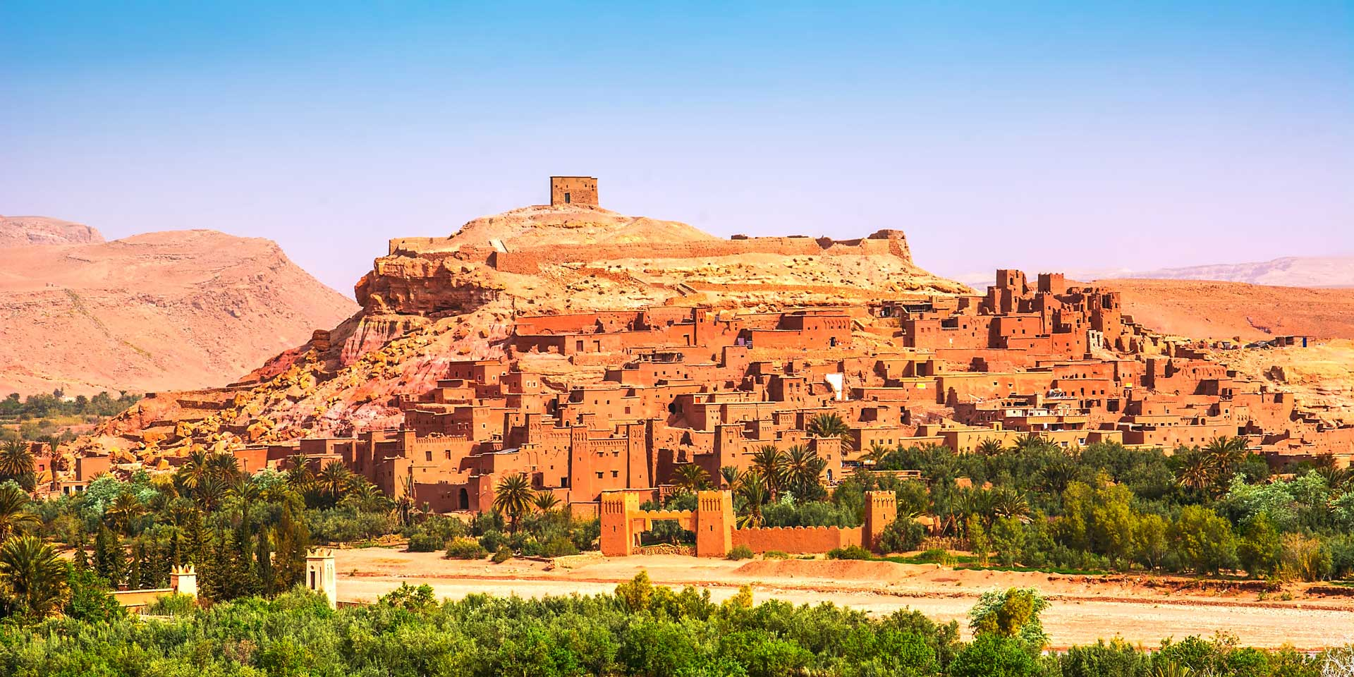 Amazing view of Kasbah Ait Ben Haddou near Ouarzazate in the Atlas Mountains of Morocco