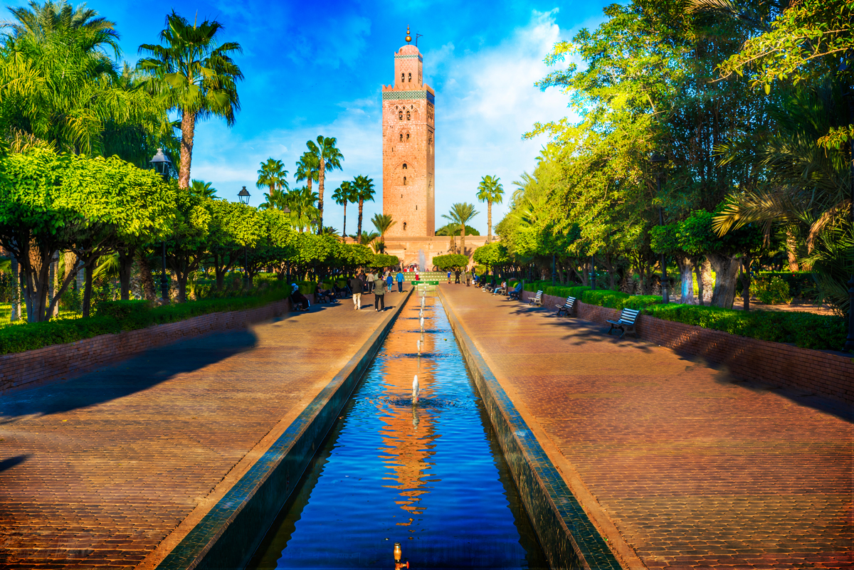 Koutoubia Mosque minaret at medina quarter of Marrakesh