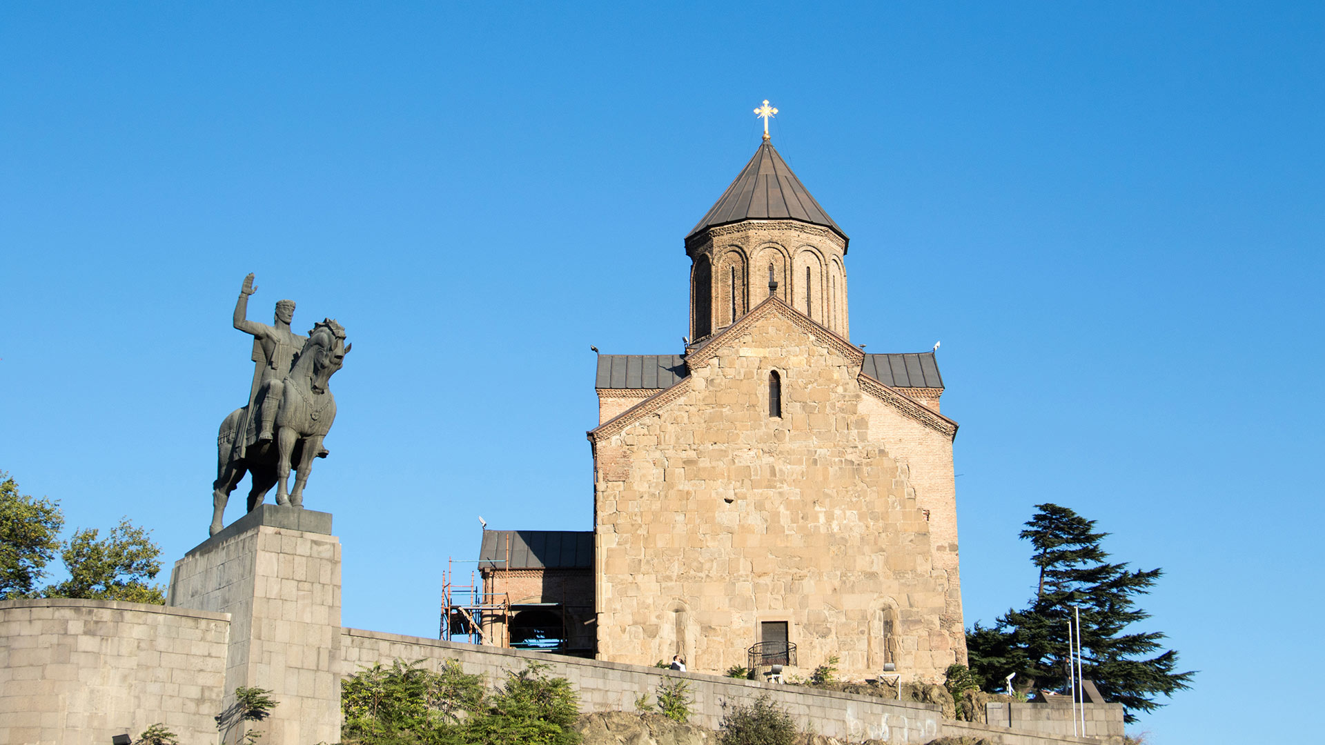 The Metekhi Virgin Mary Assumption Church or Metekhi Church and monument of King Vakhtang I Gorgasali, Tbilisi