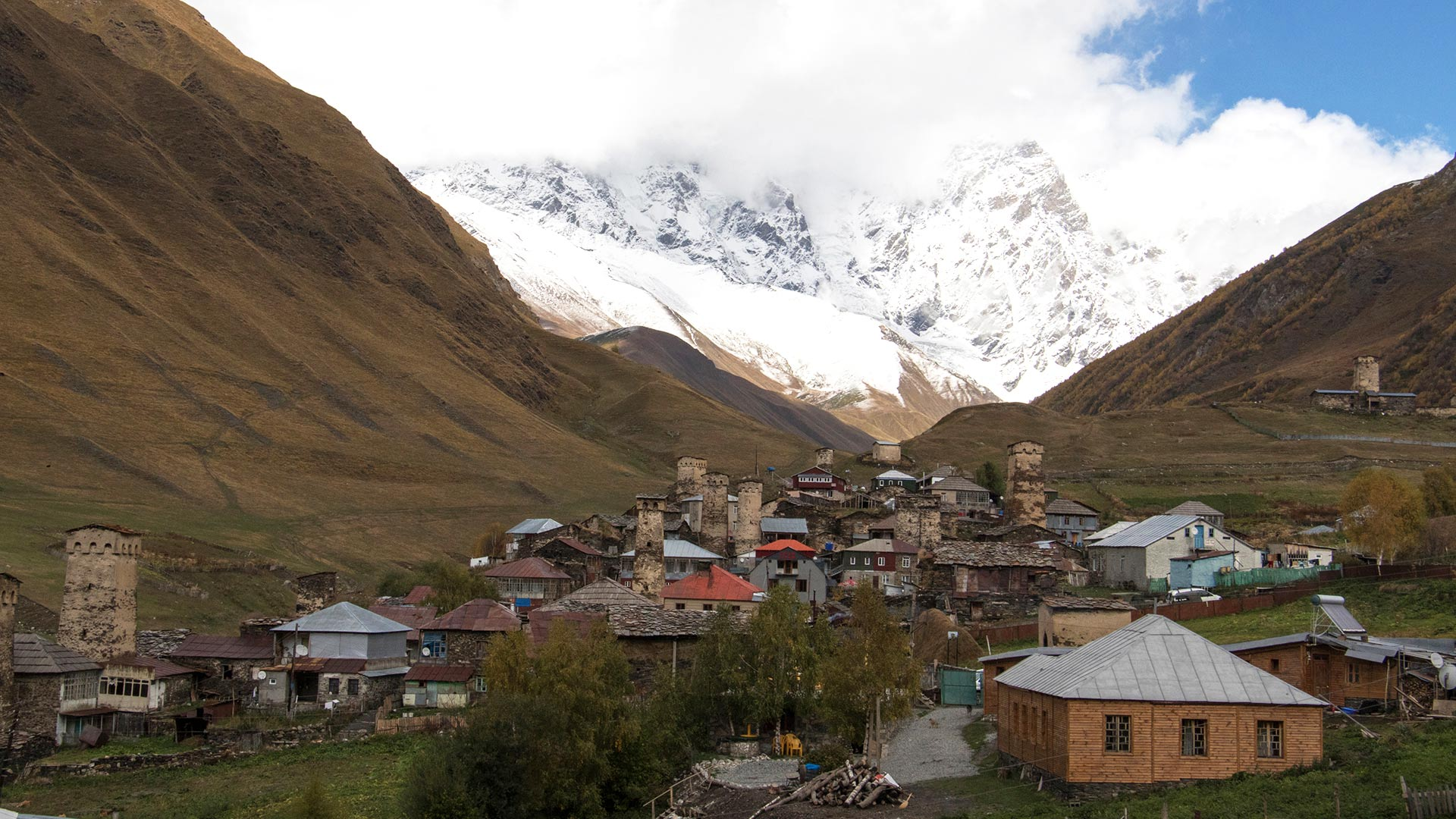 Village of Ushguli and Mt Shkhara in Upper Svaneti, Georgia