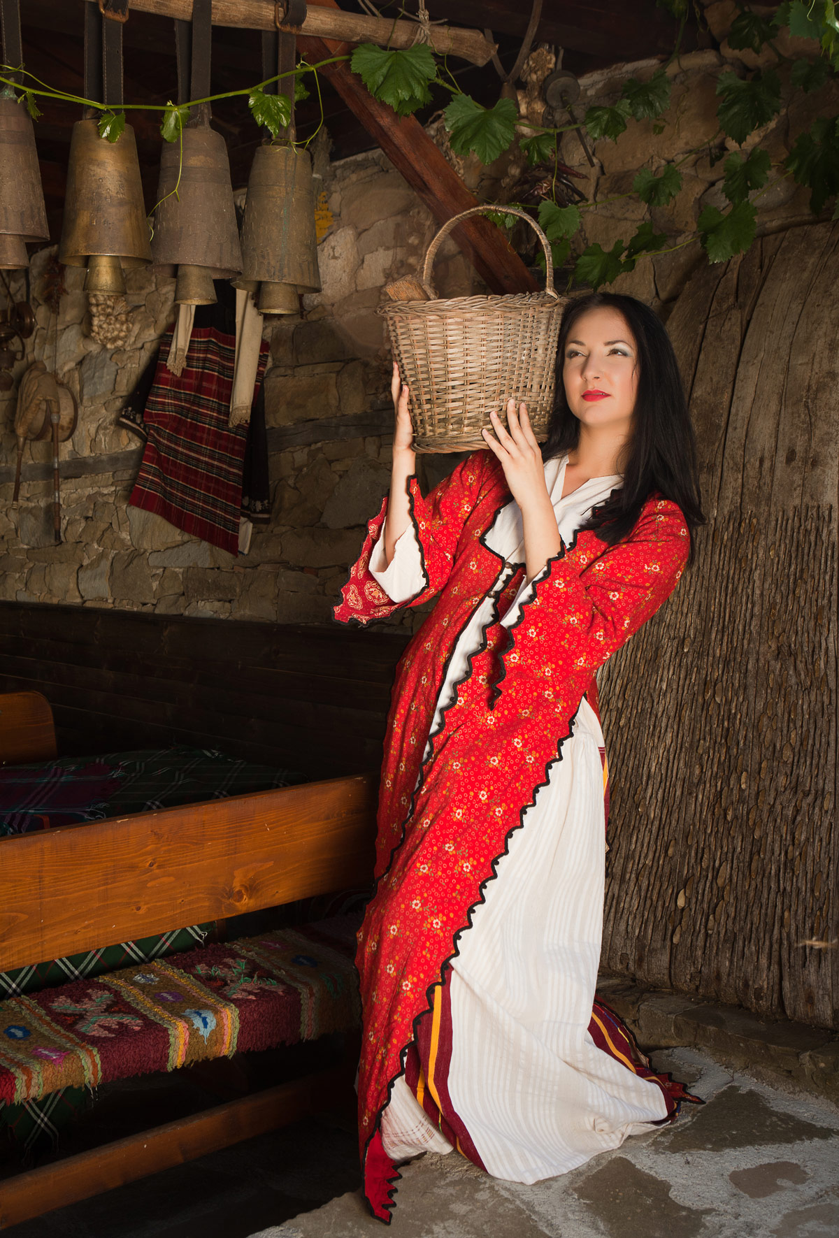Beautiful woman wearing the traditional folklore costume